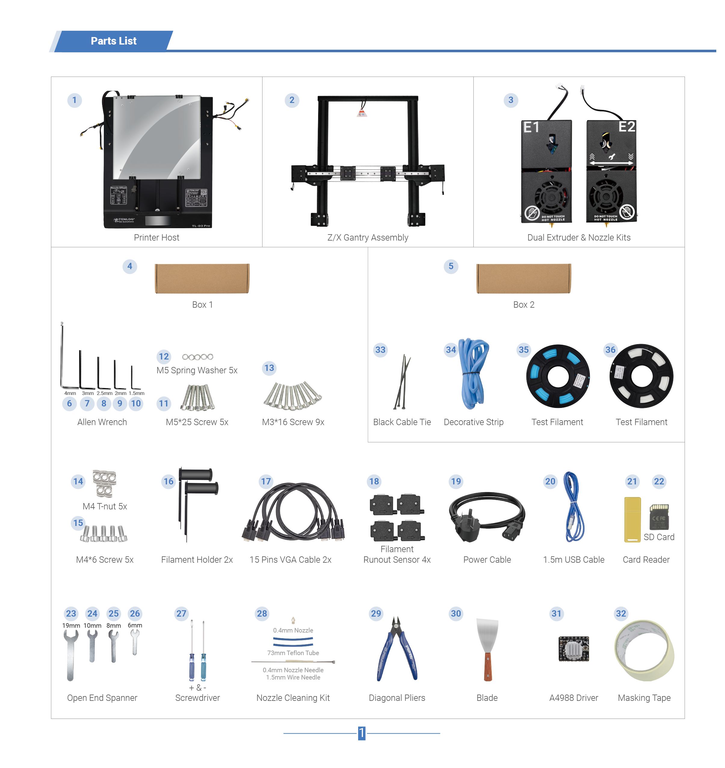 Tenlog TL-D3 Pro DMP 3D Printer Manual 2